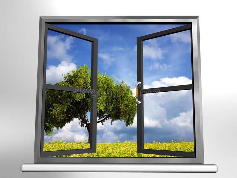 Window and landscape royalty free stock photo