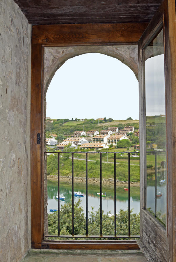 Window with landscape. In Asturias royalty free stock image