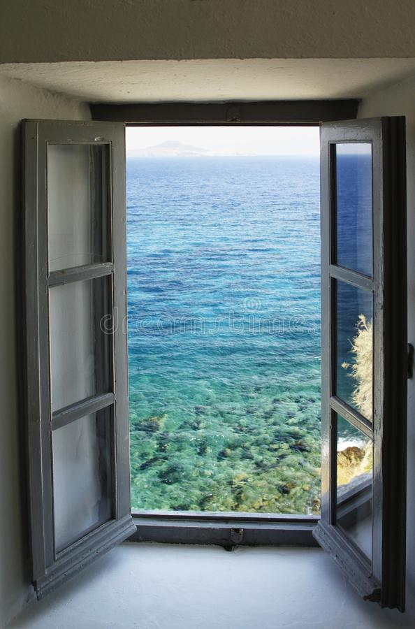 Window Looking Out On The Sea Stock Photo Image Of