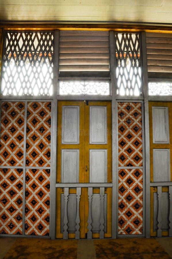 Window of Masjid Ihsaniah Iskandariah at Kuala Kangsar. KUALA KANGSAR PERAK, MALAYSIA – APRIL 2014: Ihsaniah Iskandariah Mosque a.k.a. Masjid Lama Kampung stock image