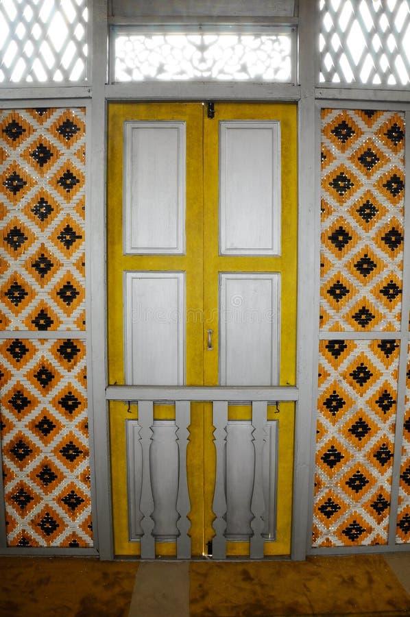 Window of Masjid Ihsaniah Iskandariah at Kuala Kangsar. KUALA KANGSAR PERAK, MALAYSIA – APRIL 2014: Ihsaniah Iskandariah Mosque a.k.a. Masjid Lama Kampung stock photography