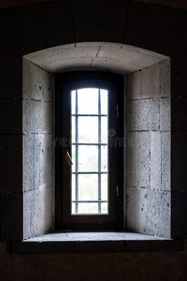 Window in the medieval fortress view from the room. royalty free stock photos