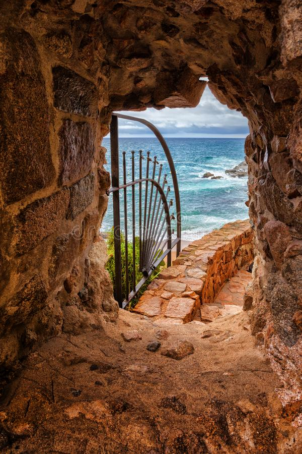 Window in Medieval Wall with View to the Sea royalty free stock photography