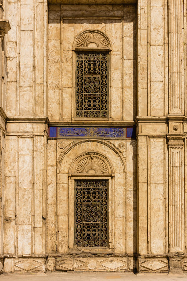 Window at Mohamed Ali Mosque, The Saladin Citadel of Cairo ,Egypt royalty free stock images