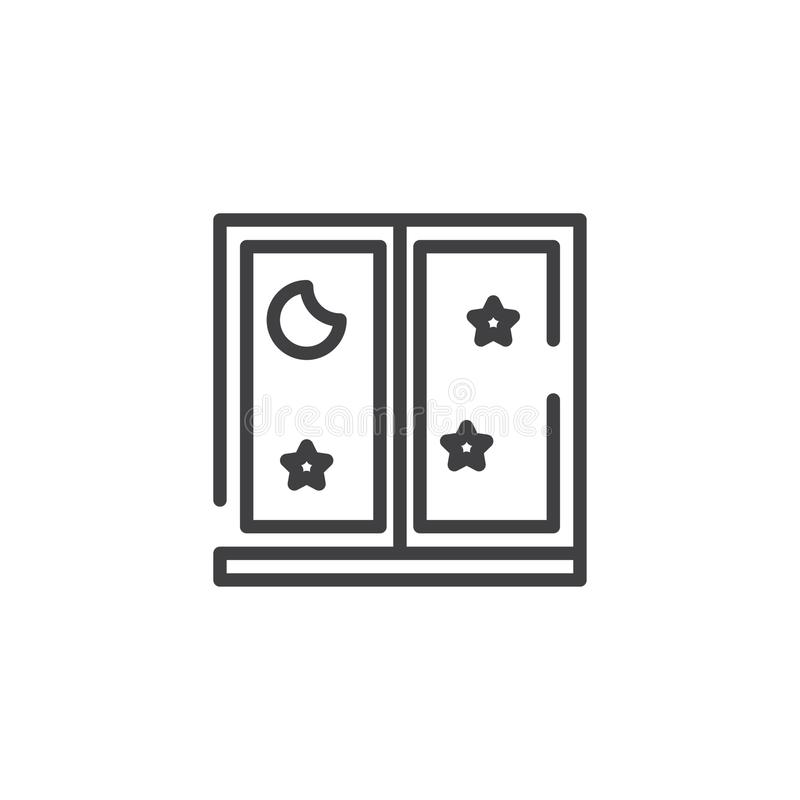 Window with moon and stars line icon royalty free illustration
