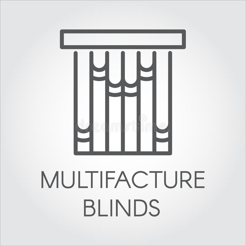 Window multifacture blinds icon in outline style. Vector symbol for home and office interior design concept royalty free illustration