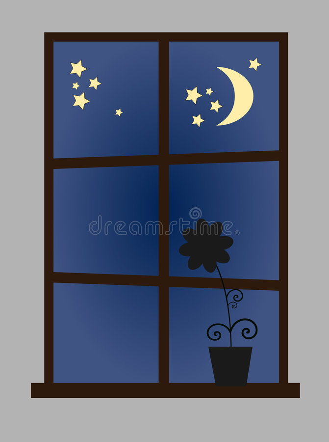 Window at night-time vector illustration