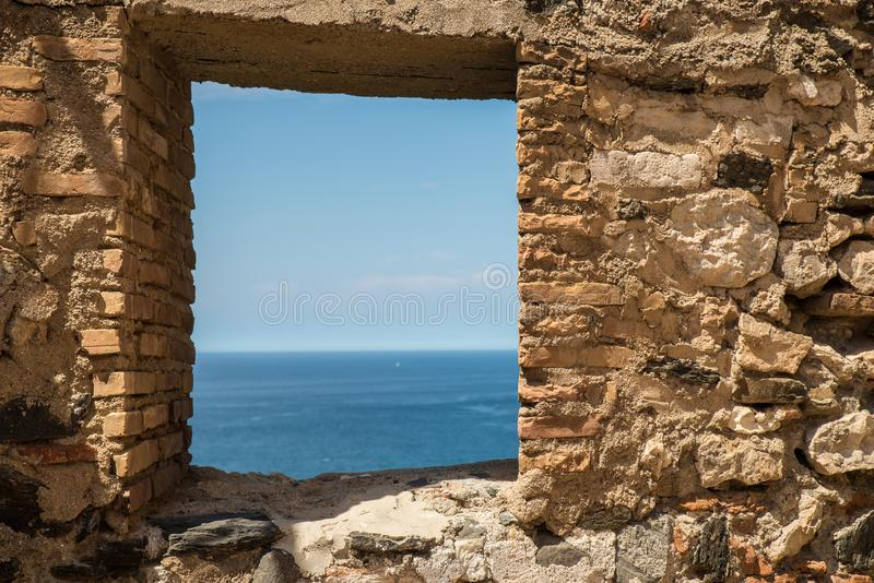 Window on old castle wall royalty free stock images