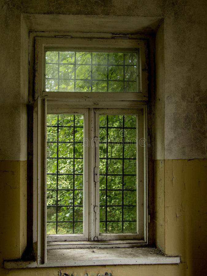 Window in old dirty abandoned building stock photos
