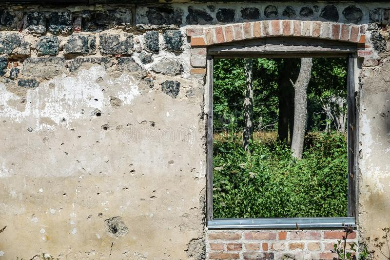 Window on an old ruin. royalty free stock photos