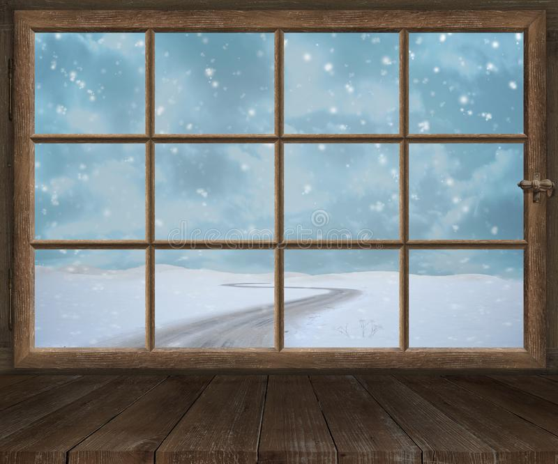 Window old wood window frame sprouts winter christmas royalty free stock photo