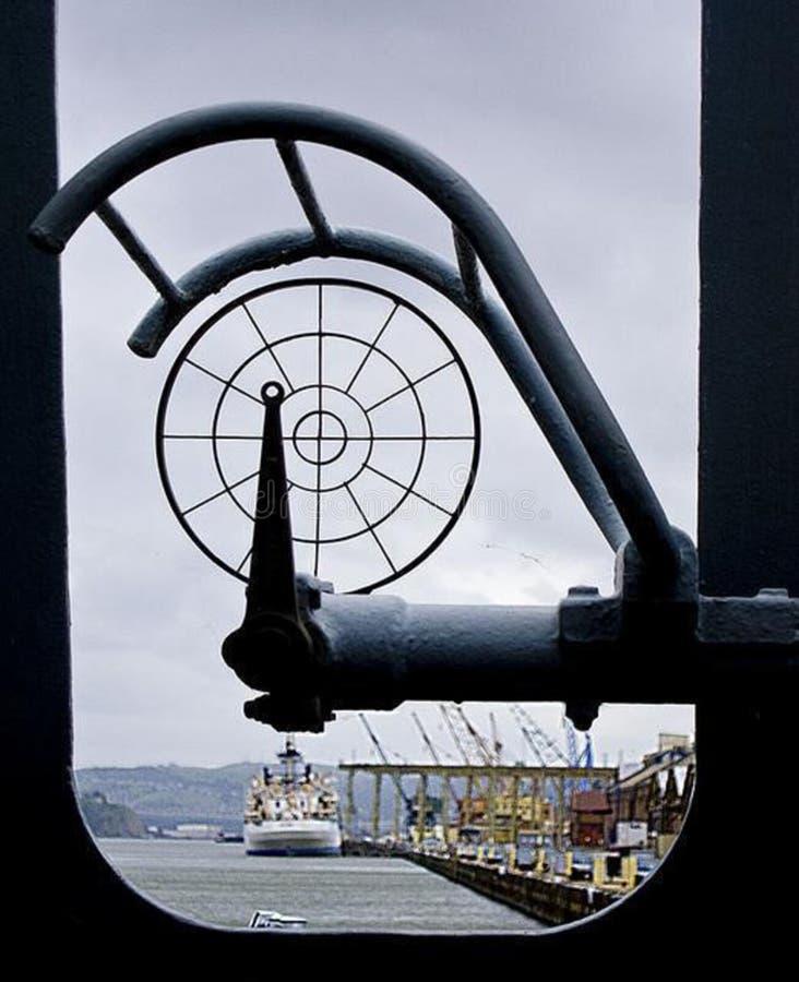Window onto port stock image