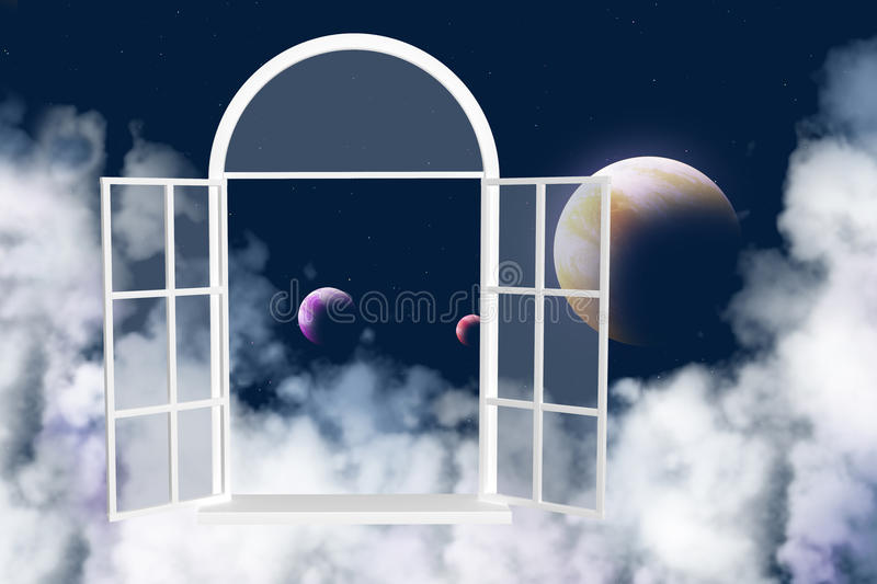 Window in other galaxy stock illustration