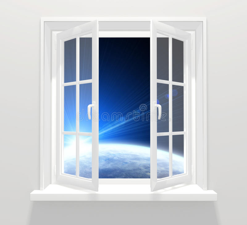 Window in other galaxy vector illustration