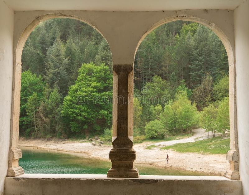 A window on the lake royalty free stock photos