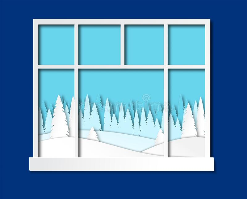 Window overlooking the winter landscape.Paper cut style. Vector vector illustration