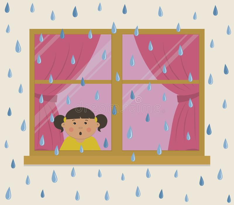 Rainy day. A little girl in the room looks at the rain in surprise vector illustration