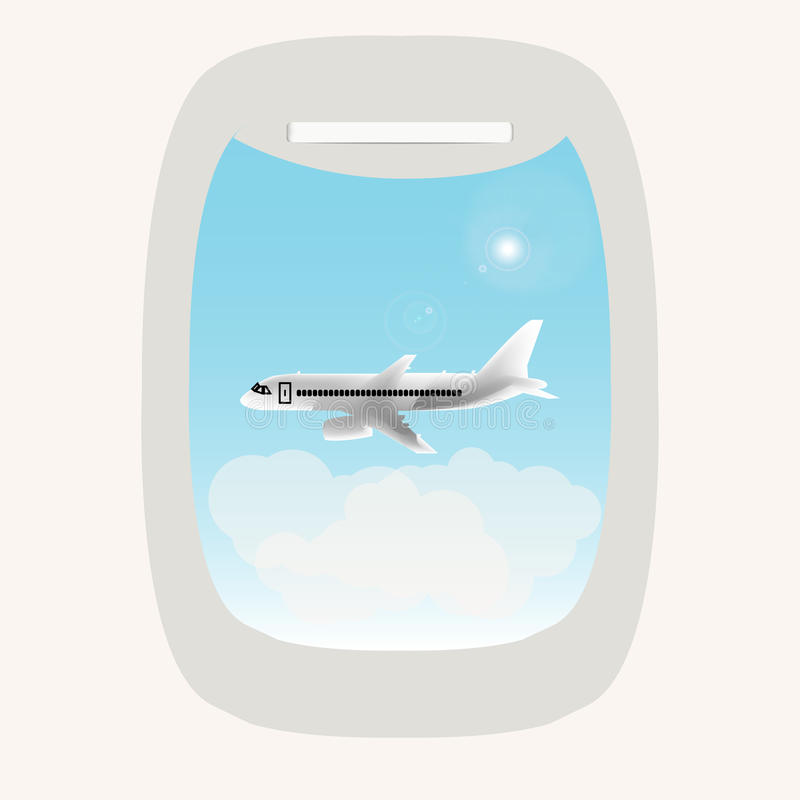 Window in the plane royalty free stock photography