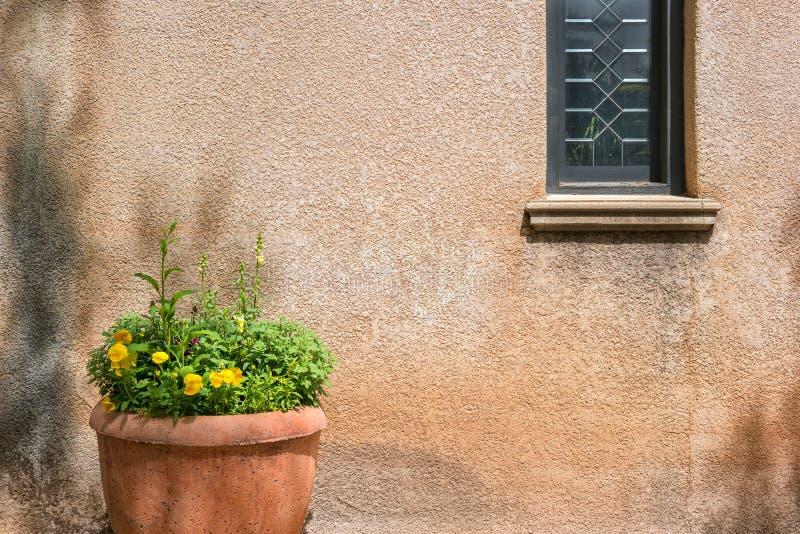 Window and plant, Tlaquepaque. Details, Tlaquepaque Arts and Crafts Village, Sedona, Arizona royalty free stock image