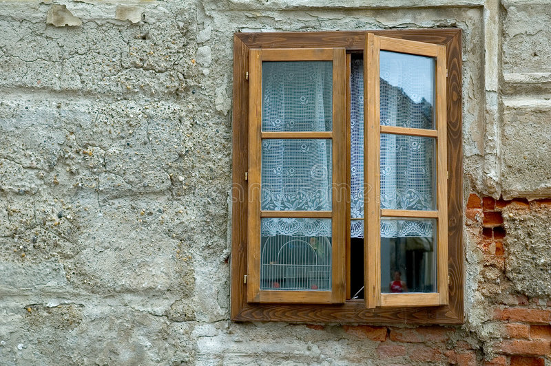 Download Window on plaster wall stock photo. Image of home, europe - 376562