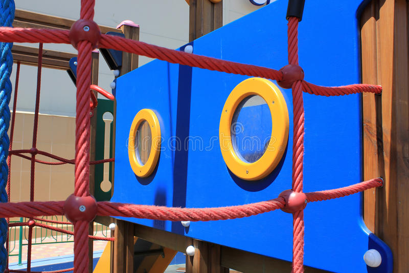 Window. At the playground stylized on the ship royalty free stock images