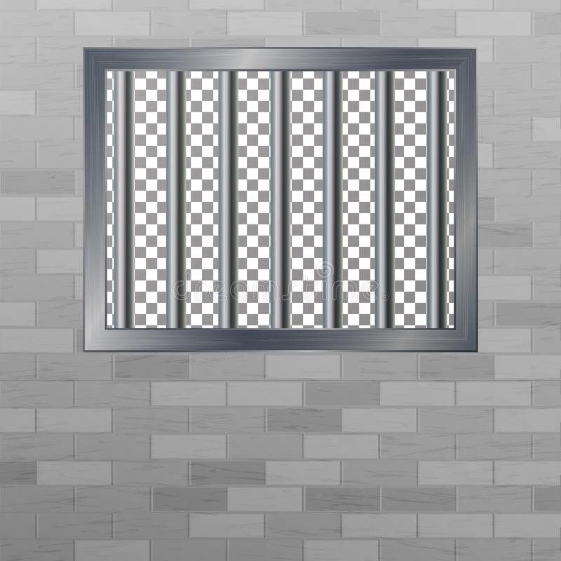 Window In Pokey With Bars. Brick Wall. Vector Jail Break Concept. Prison Grid Isolated. royalty free illustration