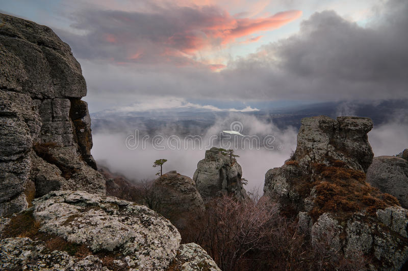 Window into reality. Foggy landscape in the Valley of Ghosts, Crimea royalty free stock photo