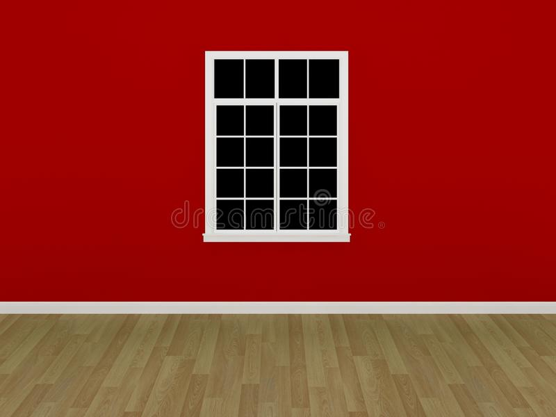 Download The Window On The Red Wall In Empty Room Stock Illustration - Image: 36744510