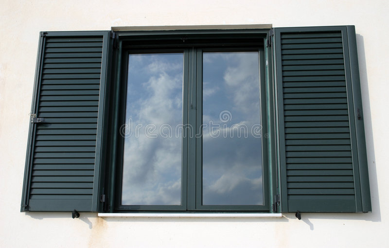Download Window reflection stock photo. Image of open, detail, shutters - 76304