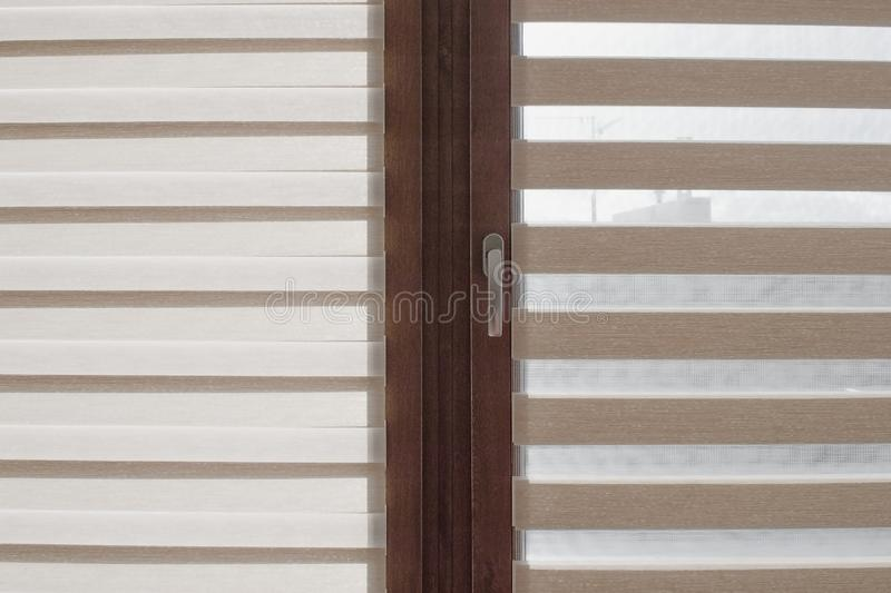 Window roller, duo system day and night. Detail stock photo