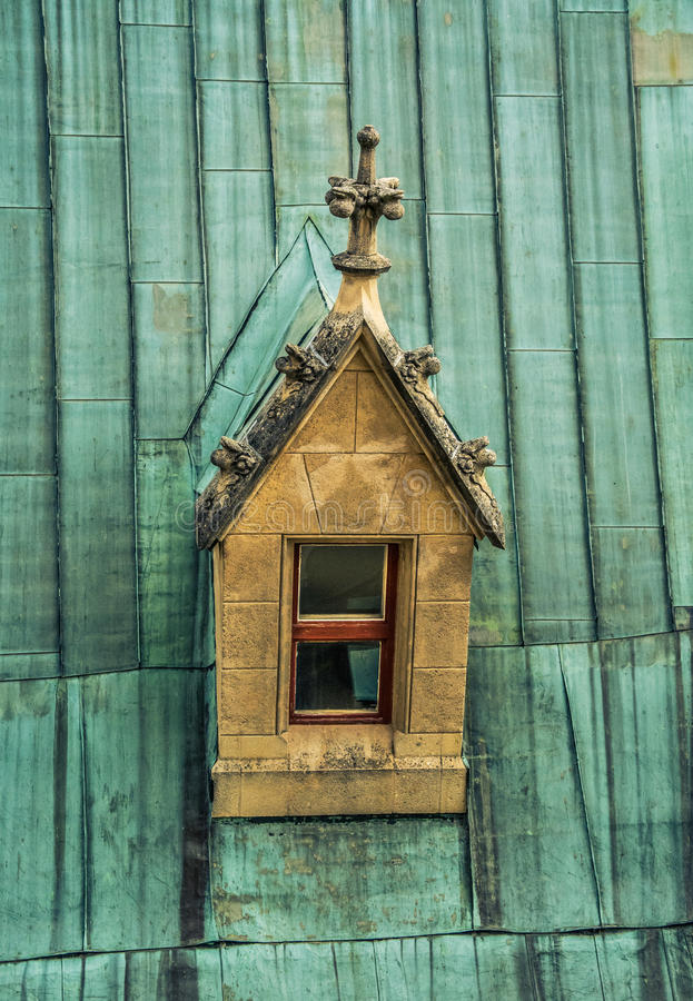 The window on the roof. The window on the top of historic roof royalty free stock photos