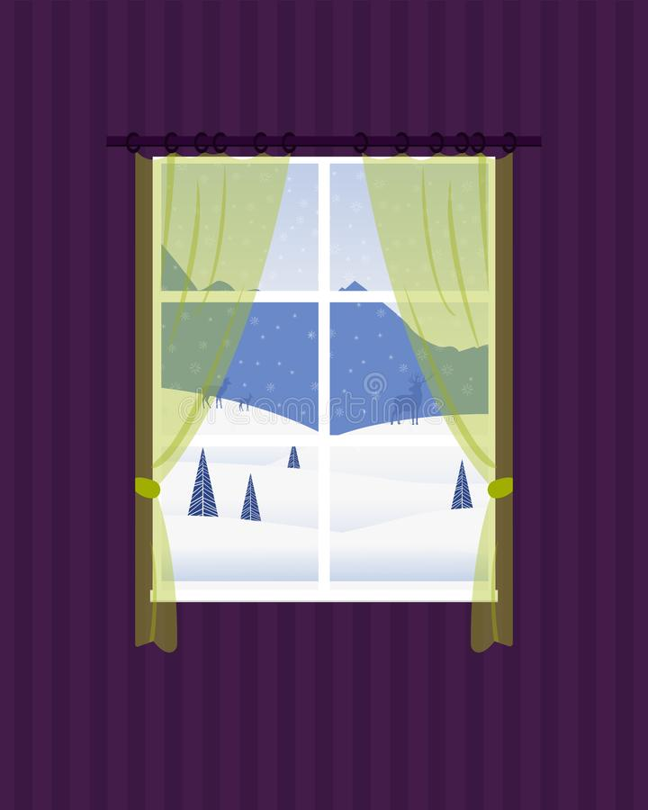 Window of the room overlooking the winter landscape. stock illustration