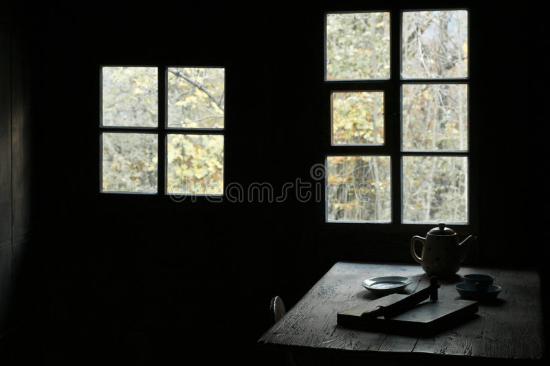 Window Rustic Dining Table royalty free stock images