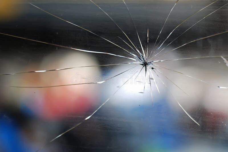 Window's crack. Dirty train window lines crack stock photo