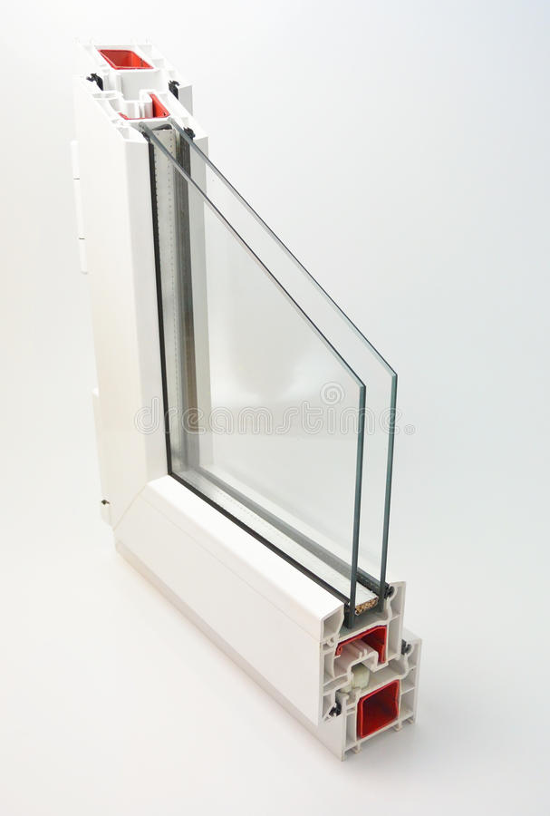 Window sash. Pvc profile window sash with double glazing stock images