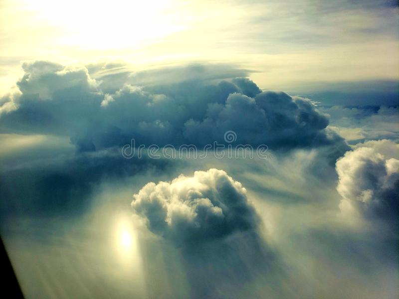 Window seat cloud view stock photography