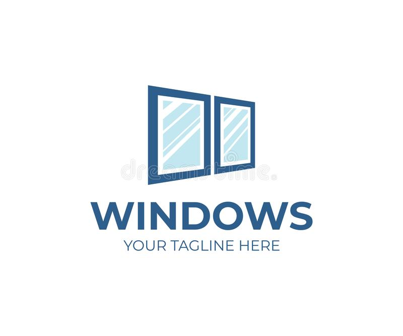 Window services logo template. Window replacement vector design royalty free illustration