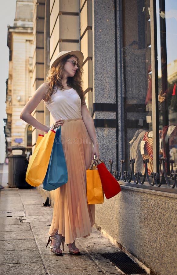 Window shopping royalty free stock image