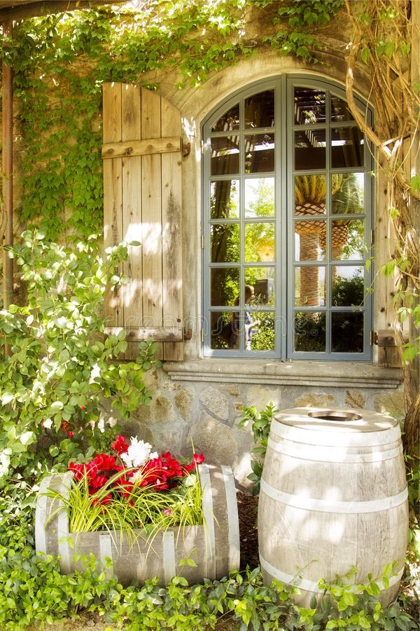 Window. Shutter barrel ivy napa wine French stock images