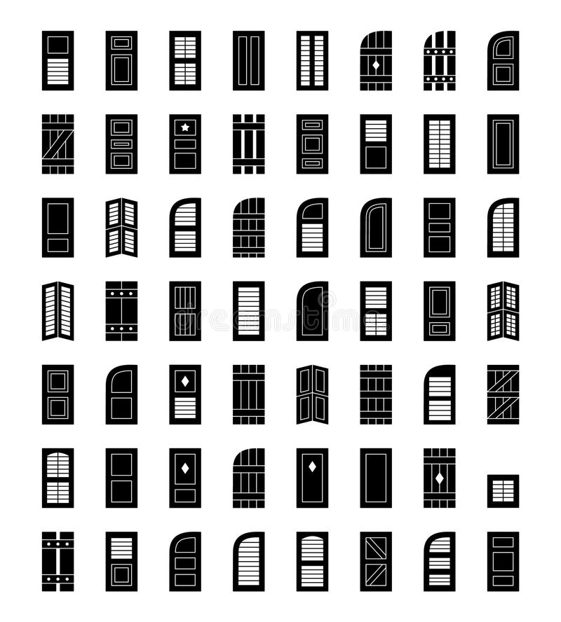 Window shutters. Decorative exterior shades. Flat icon collection. Shutters. Plantation, panel, tier on tier, bahama & louvered window coverings. Decorative royalty free illustration