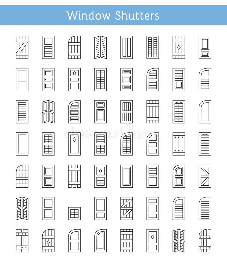 Window shutters. Decorative exterior shades. Line icon collection. Shutters. Plantation, panel, tier on tier, bahama & louvered window coverings. Decorative vector illustration