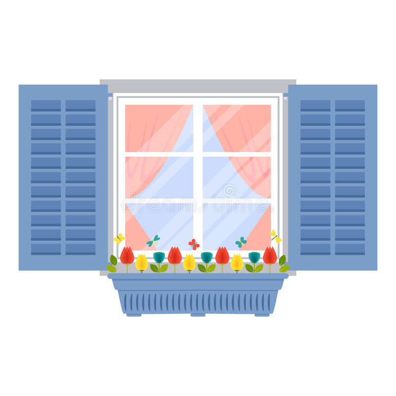 Window with shutters and flowerpot in flat style. Vector illustration of window with shutters and flowerpot in flat style on white background vector illustration
