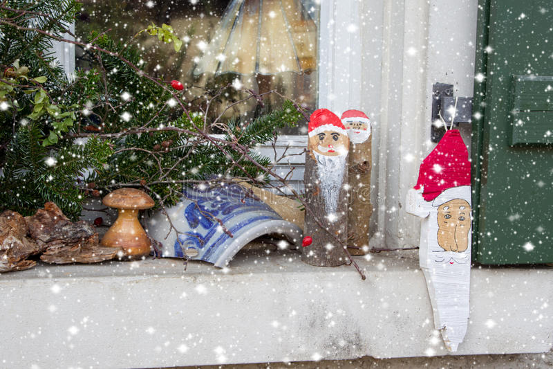 Window Sill Outside Decorated With Heather And Santa For ...
