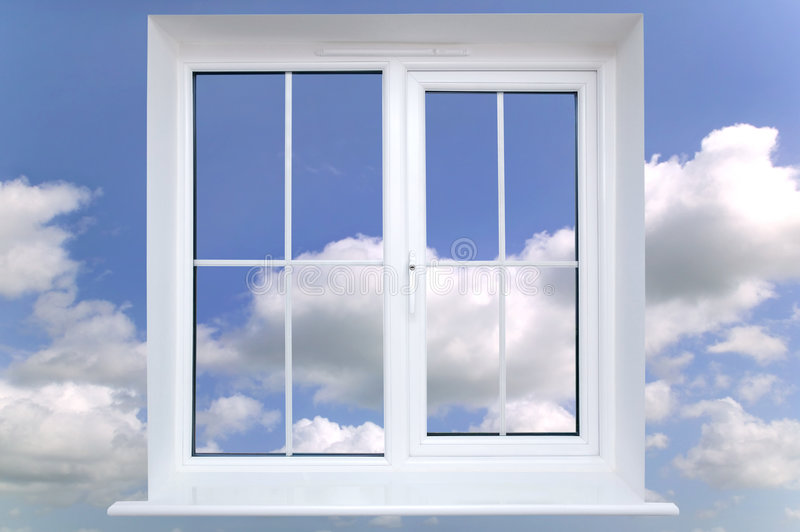 Window in the sky. Window frame against a blue cloudy sky royalty free stock image