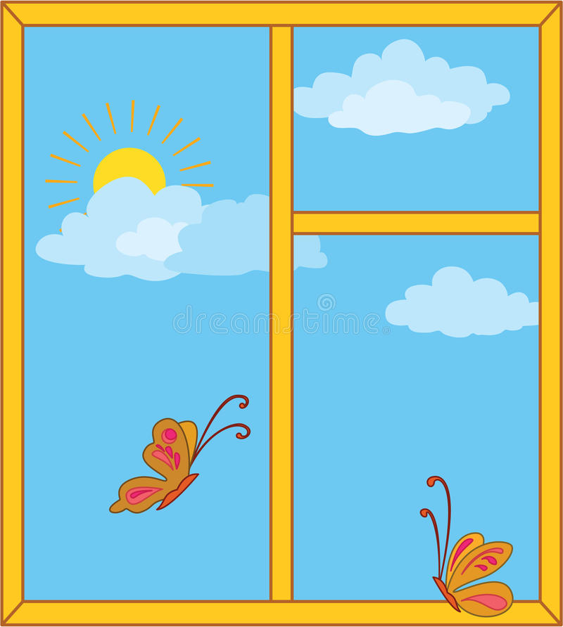 Window with sky, sun and butterflies royalty free illustration
