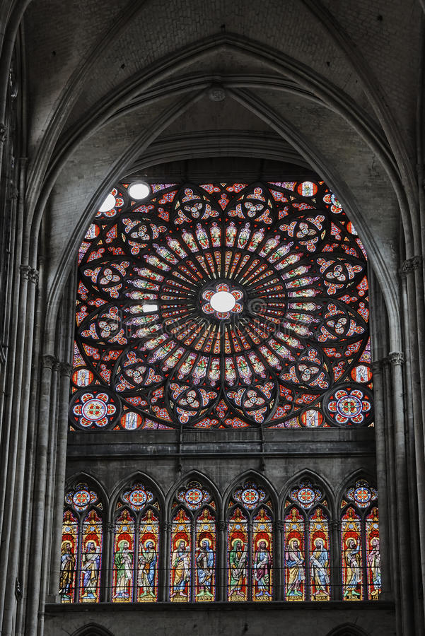 Window with stained glass in the Gothic Cathedral. Of Sts. Peter and Paul in Troyes, France royalty free stock image
