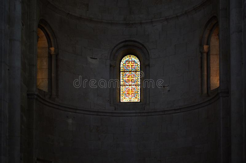 Window with stained glass windows in a church royalty free stock images