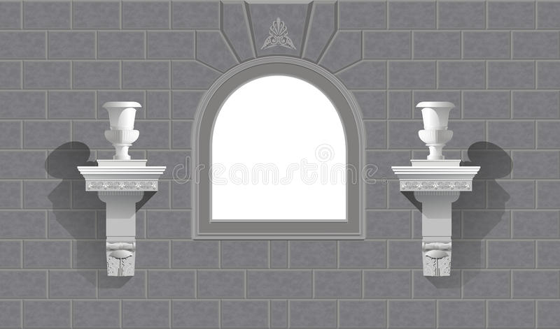 Window in a stone wall with flowerpots stock image