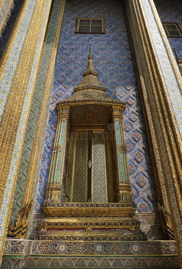 A window in temple, Bangkok Thailand. Art of temple window, pattren wat phra kaew, bangkok thailand. n royalty free stock photos