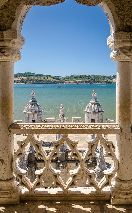 Window to the River Tagus royalty free stock photo